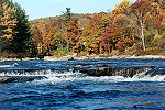 Youghiogheny River Back Dropped in Reds and Oranges of Autumn Picture Thumbnail