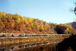 Freight Train Along the Youghiogheny River in Autumn