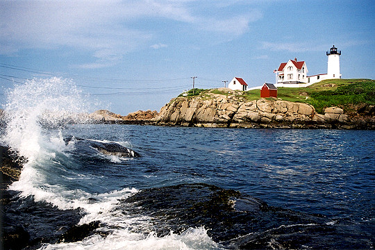 Ocean Waves Crashing Below Nubble Lighthouse Picture