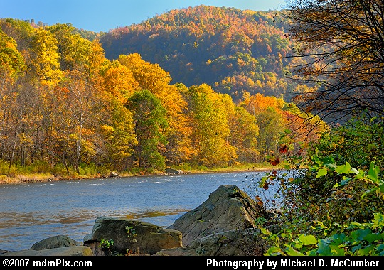 Rocks, River, Peninsula, and Chestnut Ridge in Fall Color Picture