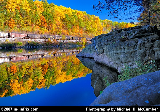 Large River Rocks and a Train Along the Youghiogheny Picture