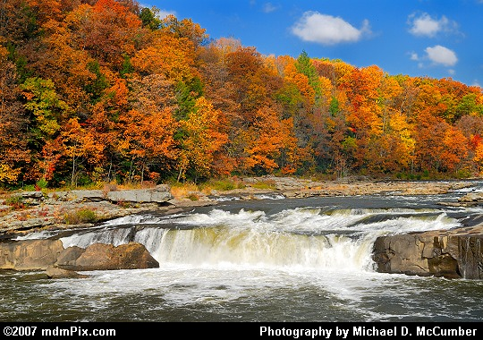 Ohiopyle's Youghiogheny River Waterfall and Fall Foliage Picture