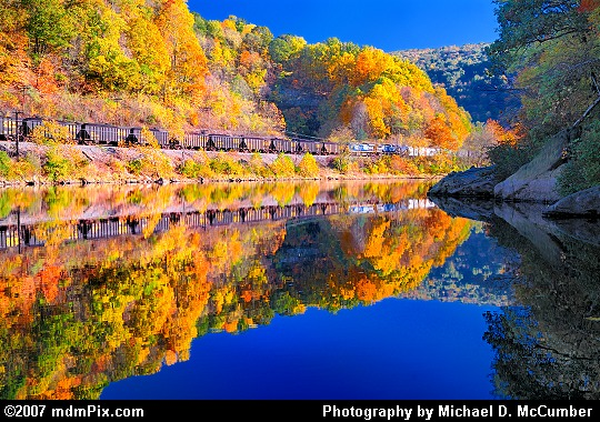 Reflections of Autumn Color and a Railroad Picture