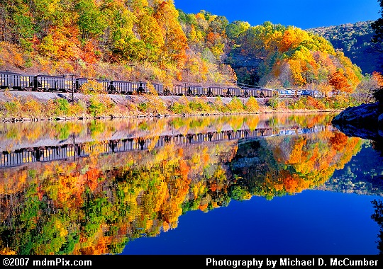 Train and Autumn Reflections in the Youghiogheny River Picture