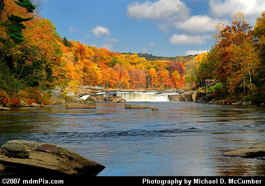 Distant Autumn View of Ohiopyle's Main Waterfall Picture