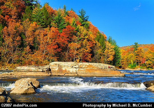 A River Rapid before Ferncliff Peninsula's Red and Orange Foliage Picture