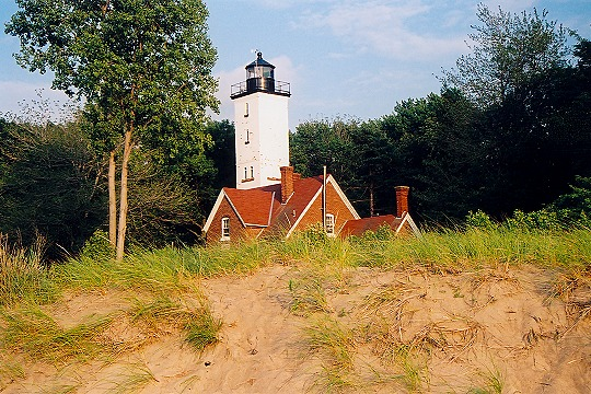 Peering Past a Sand Dune at Presque Isle Lighthouse Picture