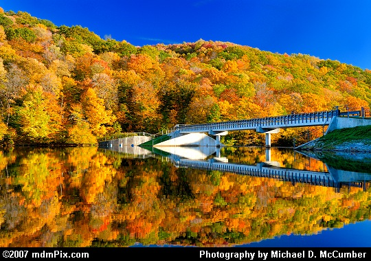 Laurel Hill Lake's Dam and Autumn Color Reflections Picture