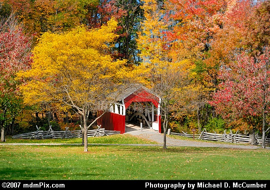 Distant View of Walter's Mill Covered Bridge with Fall Foliage Picture