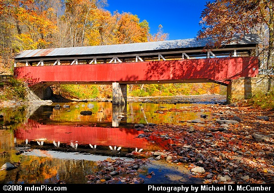 Lower Humbert Covered Bridge Side View and Reflection Picture