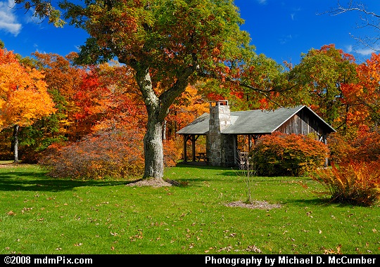 Rustic Picnic Pavilion with Fall Foliage on Mt. Davis Picture